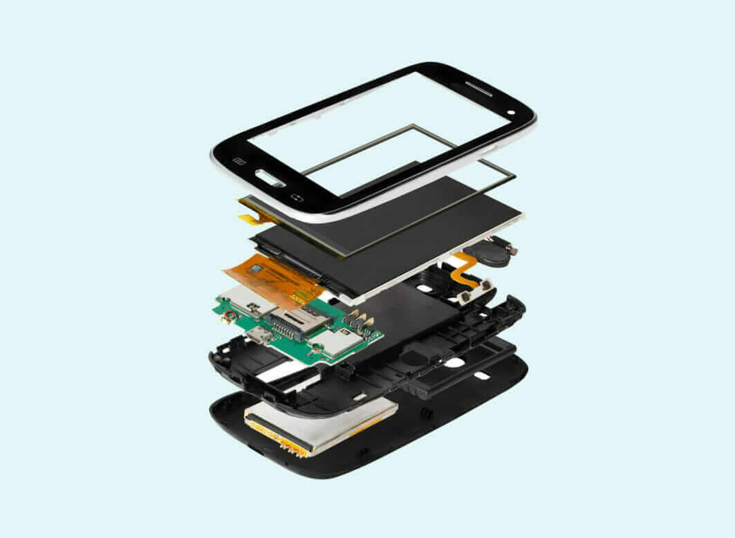 A photo of all the parts in a mobile phone