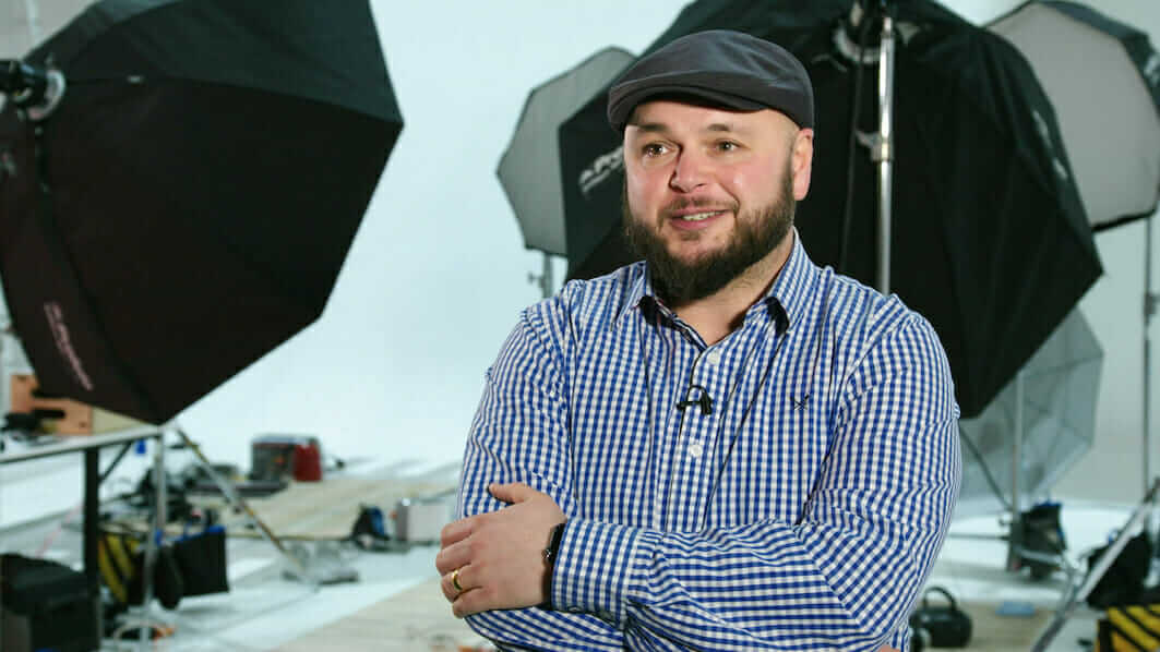 photo of Ian Downs in photo studio by Gregg Segal for Recycle Your Electricals