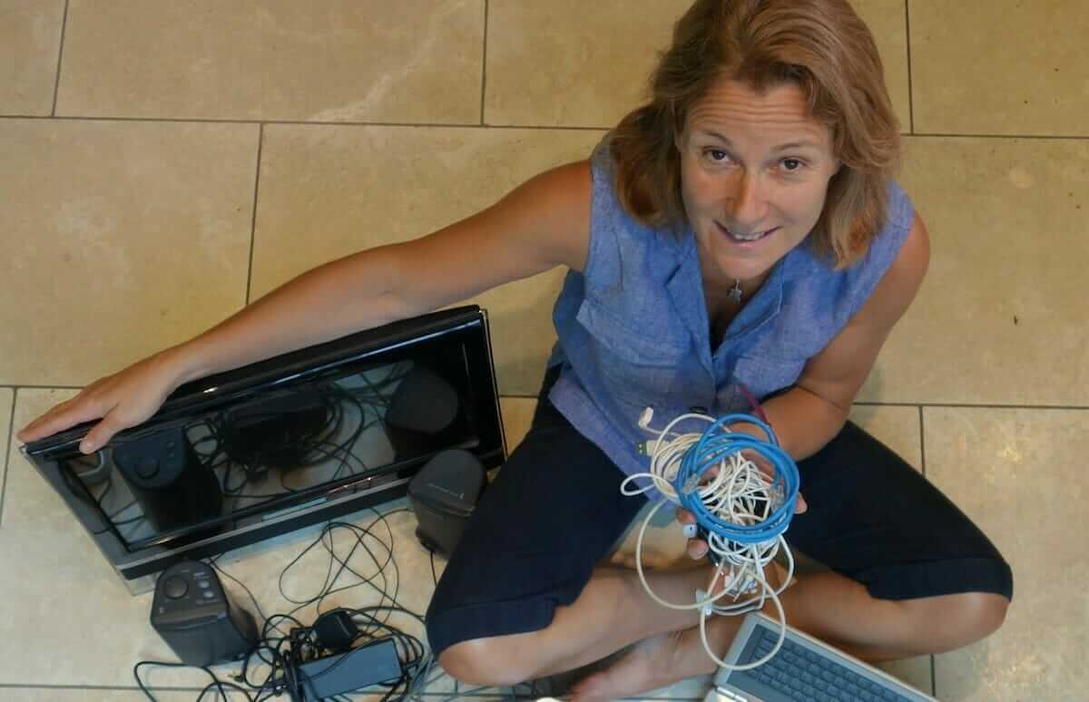 photo of Fiona Hoggard with old electricals
