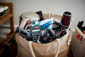 photo of bag of small electrical items