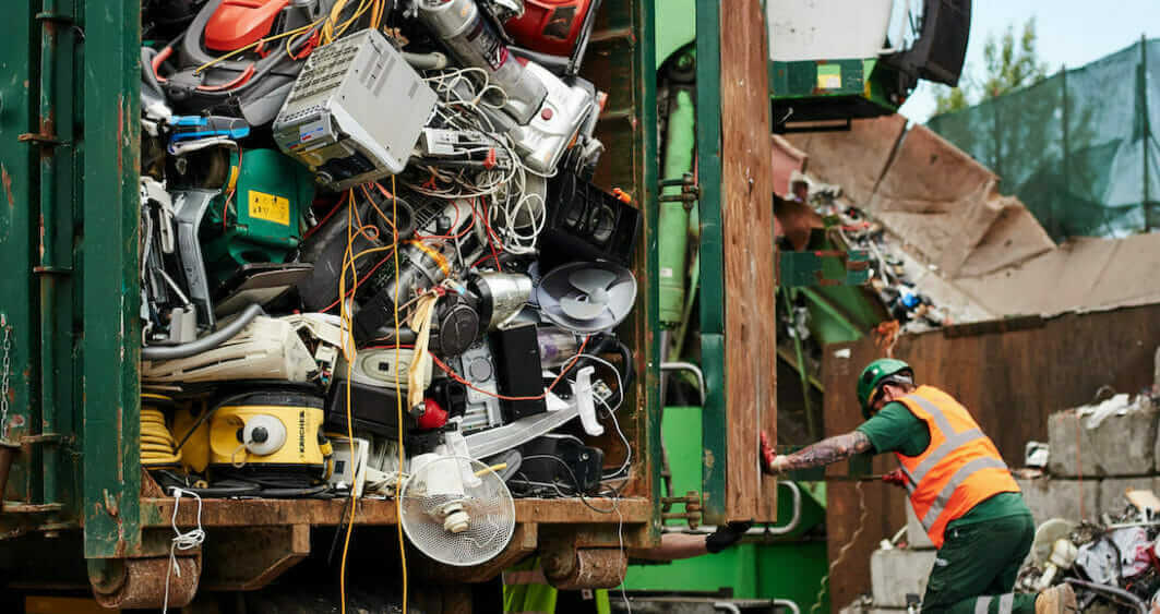 photo of electrical waste on a lorry