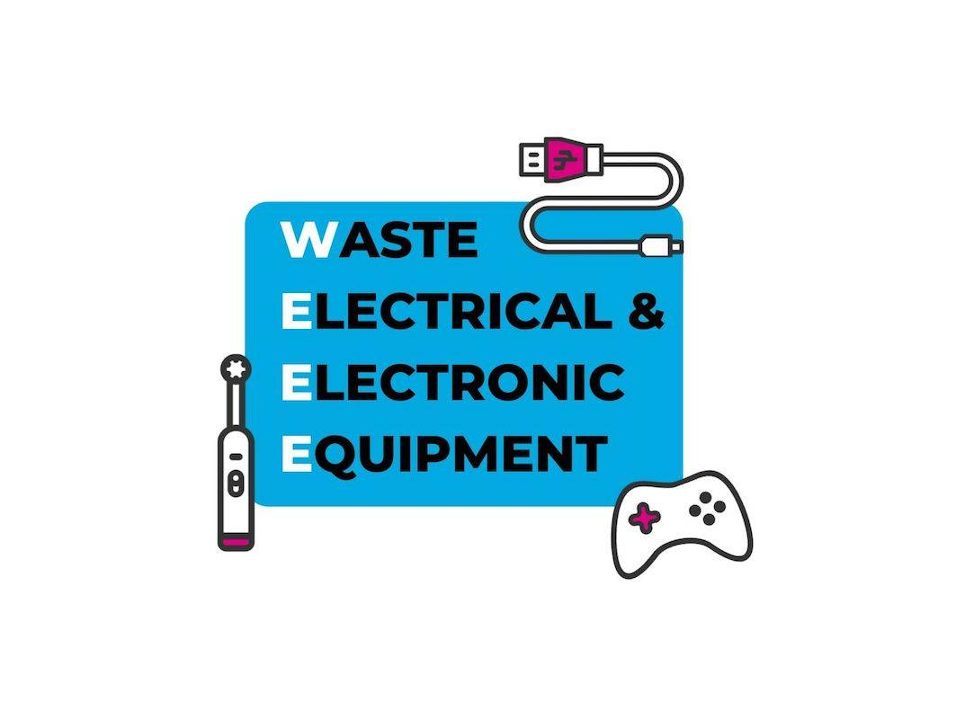 graphic spelling out WEEE - Waste Electrical & Electronic Equipment