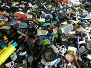 large collection of household electrical waste