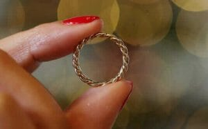 One of the Five Gold Rings made by Lylie's sustainable jewellers