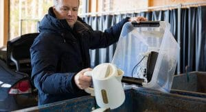 recycling a kettle at a waste and recycling centre
