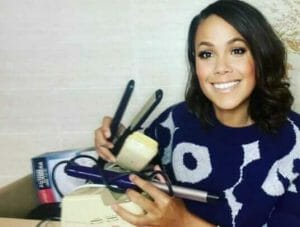 Jean Johansson with electricals for Give-Back January