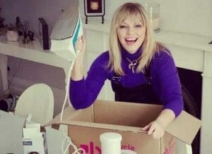 Kate Thornton with electricals for Give-Back January