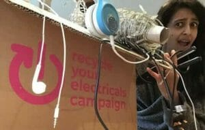 Konnie Huq with electricals for Give-Back January