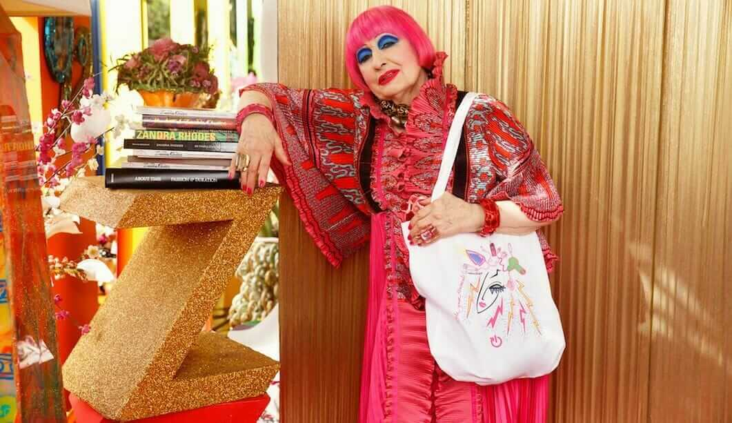 Zandra Rhodes with electrical tote