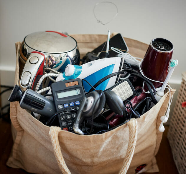 Bag of old electricals ready for recycling