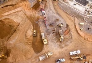 aerial view of open mine