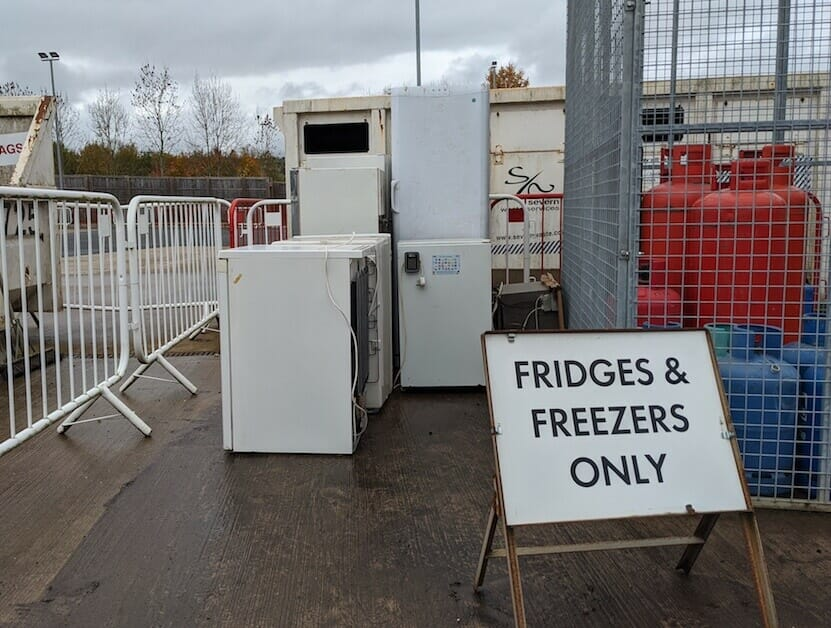 bulky electricals at recycling centre